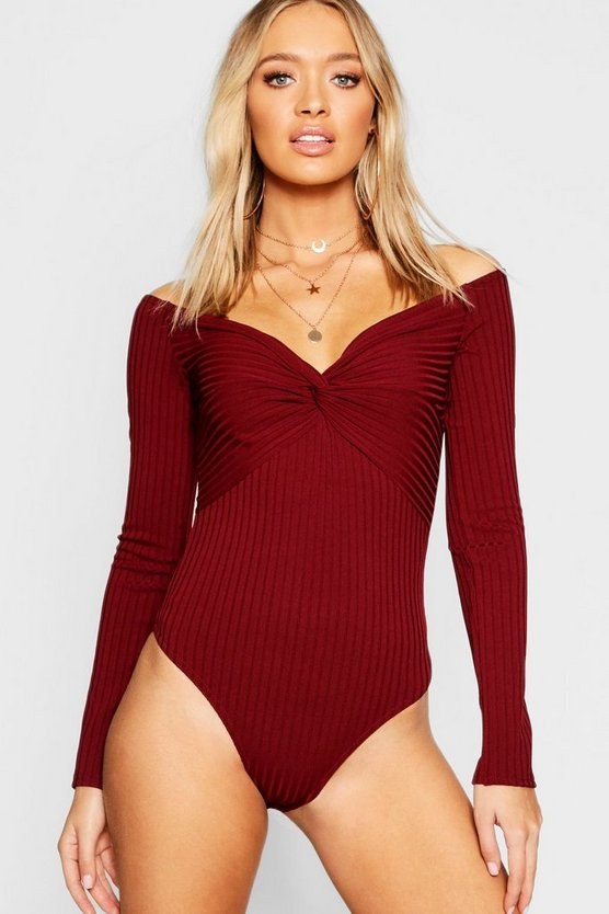 Twist Front Rib Long Sleeve Bodysuit