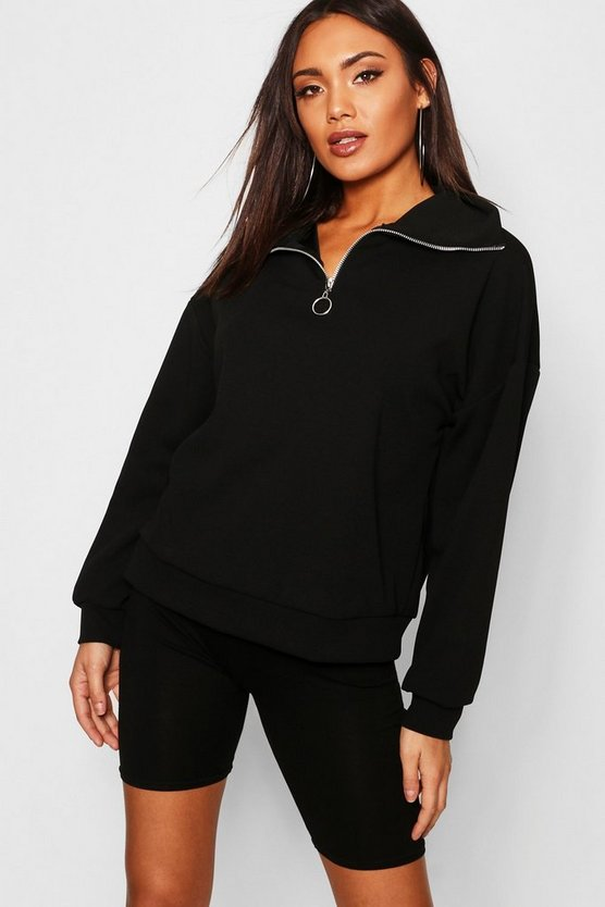 Funnel Neck Oversized Crepe Sweat