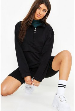 Womens Black Zip Pull Sweater