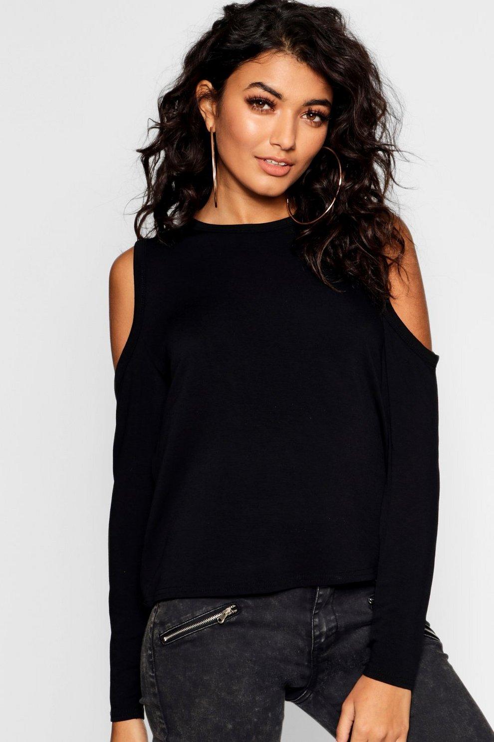 8d304c79 Crop Cold Shoulder T-shirt | Boohoo