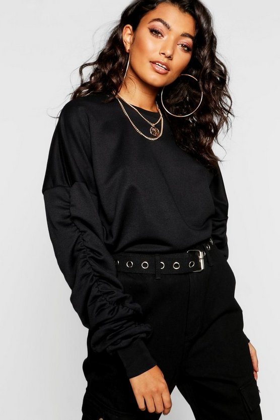 Womens Black Ruched Sleeve Sweat