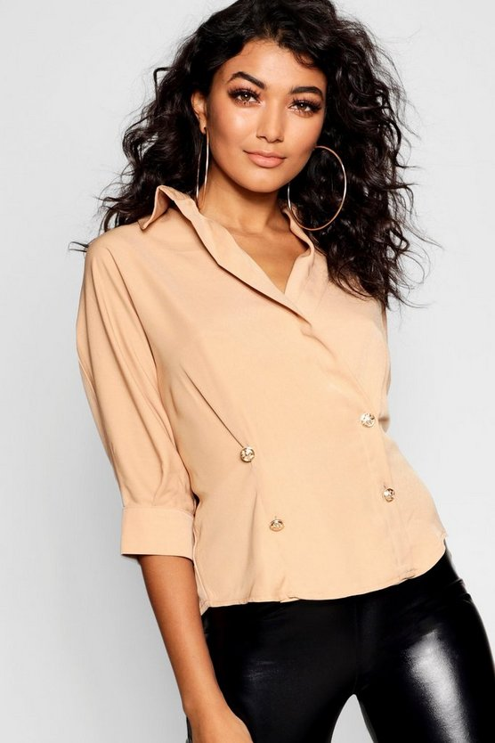 Gold Button Double Breasted Wrap Shirt
