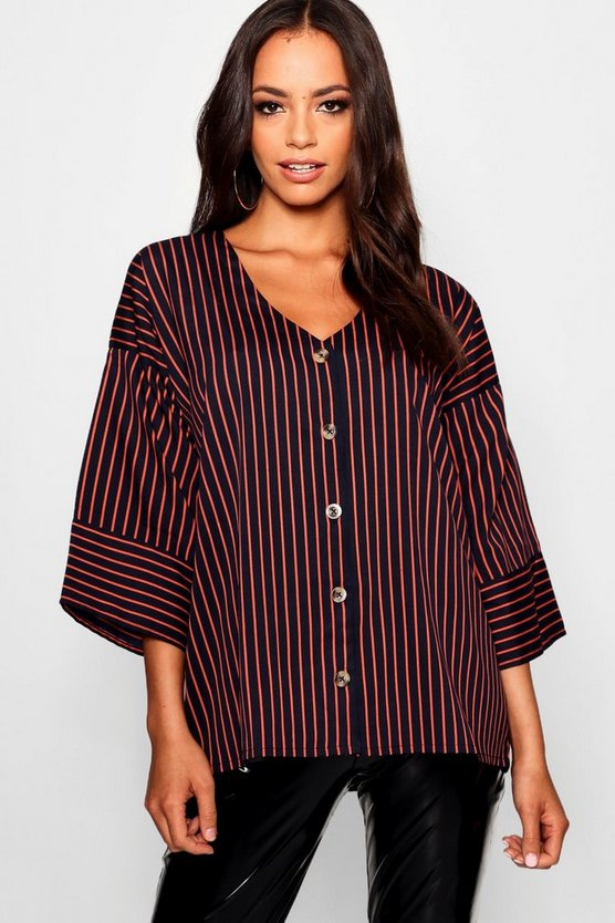 Stripe Horn Button Woven Shirt