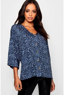 Womens Ocean blue Leopard Horn Button Woven Shirt