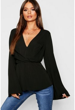Womens Black Ruffle Long Sleeve Peplum Blouse