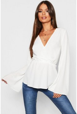 Womens Ivory Ruffle Long Sleeve Peplum Blouse