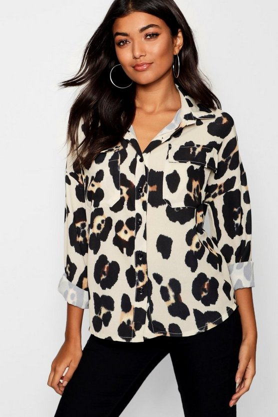 Cream Leopard Print Pocket Shirt