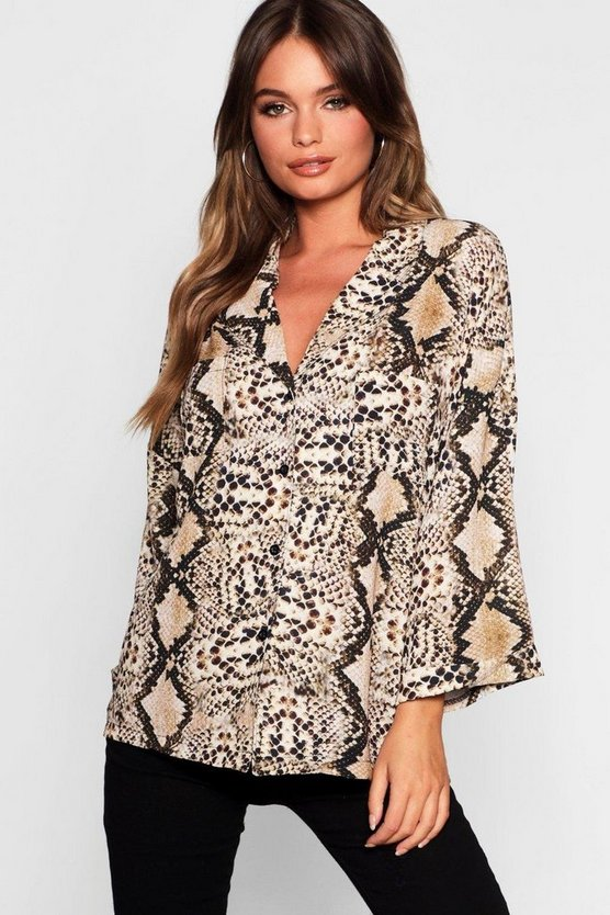 Womens Beige Snake Revere Collar Oversized Shirt