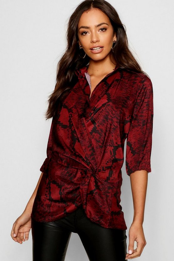 Womens Red Snake Print Plunge Twist Blouse