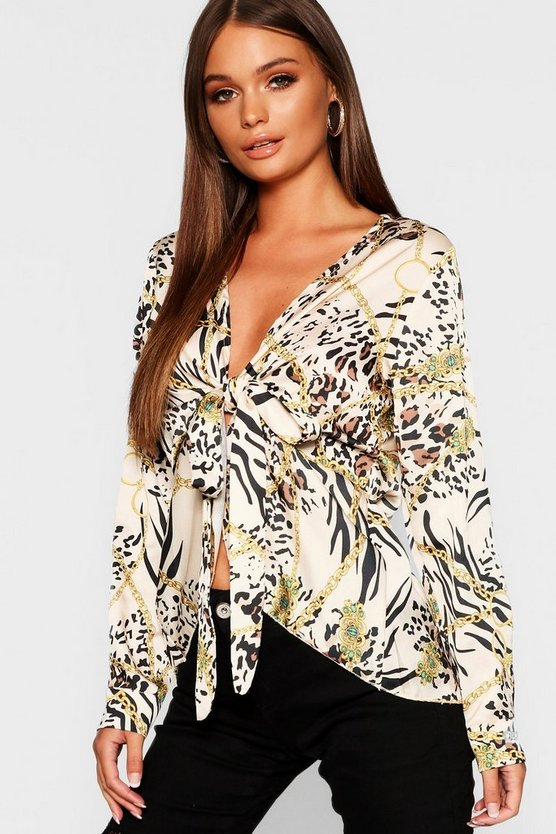Satin Chain Print Tie Front Blouse