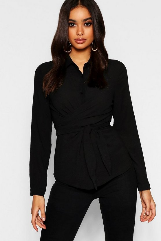 Womens Black Tie Front Shirt