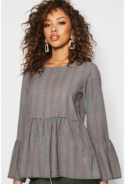 Womens Green Check Woven Smock Top