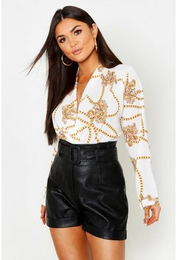 Womens Cream Chain Print Woven Bodysuit