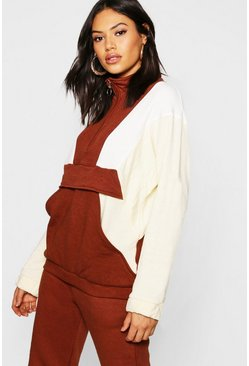 Womens Chocolate Tonal Colour Block Zip Pull Sweater