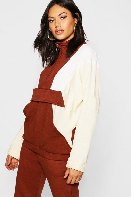 Tonal Colour Block Zip Pull Sweater