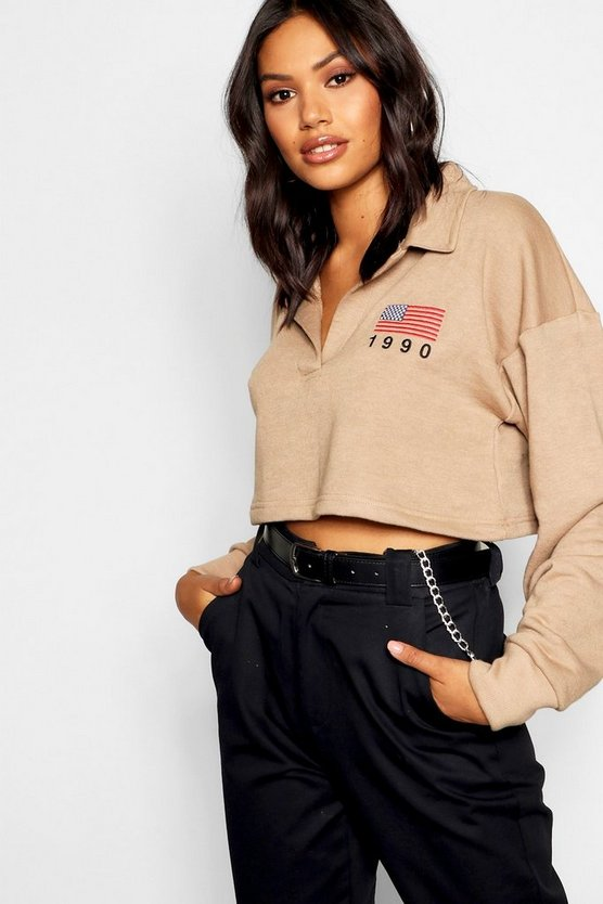 Embroidered Crop Rugby Top