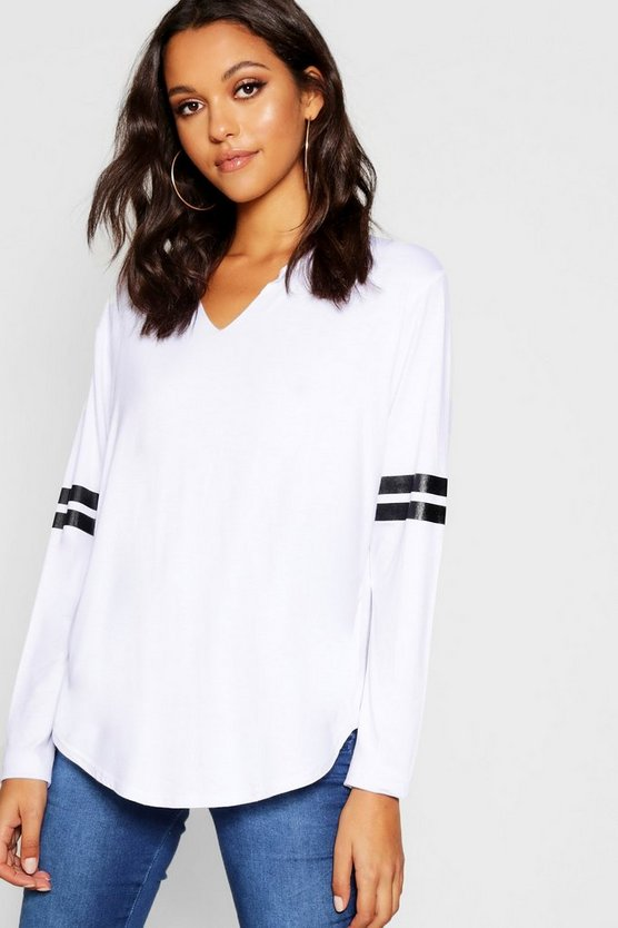 Notch Neck Long Sleeve Baseball Top
