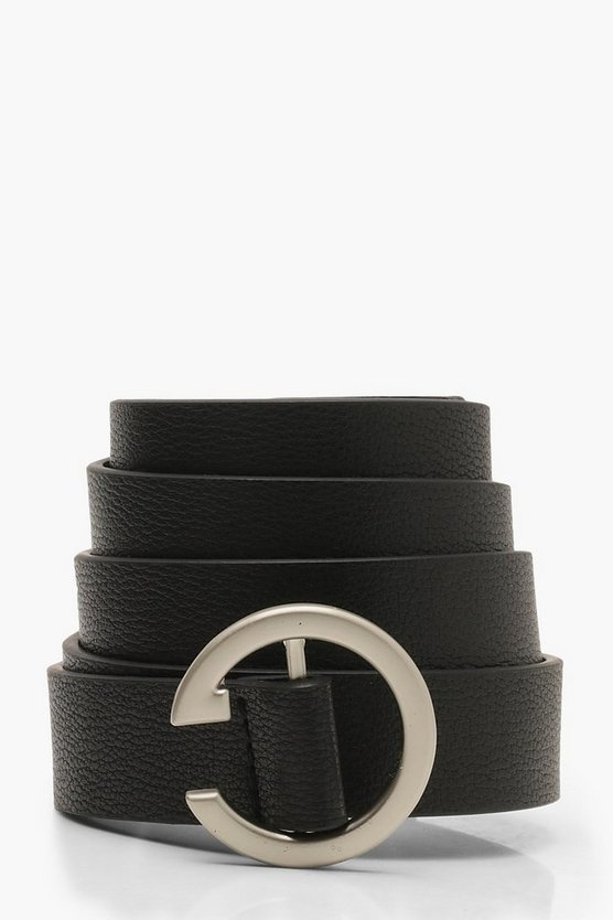 Black Split Circle Buckle Belt