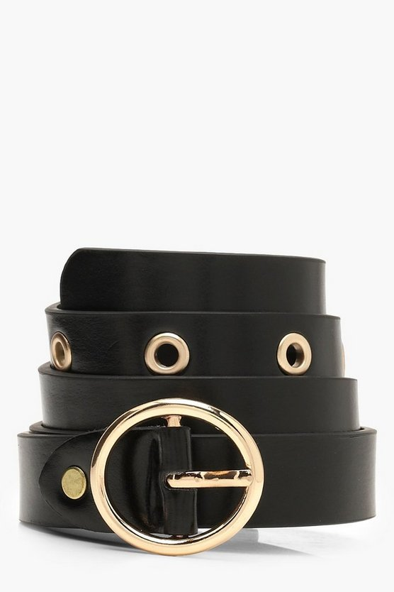 Womens Black Circle Buckle Eyelet Belt