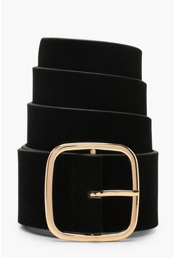 Womens Black Square Buckle Crosshatch Belt