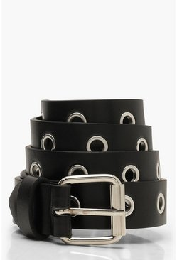 Womens Black All Over Eyelet Boyfriend Belt