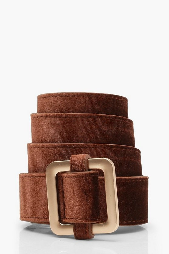 Womens Chocolate Velvet Square Buckle Boyfriend Belt