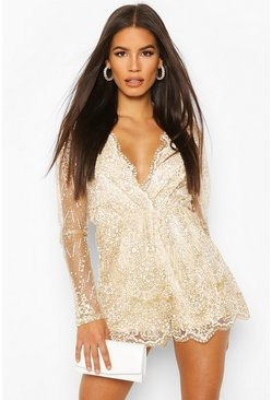 Womens Champagne Glitter & Lace Playsuit