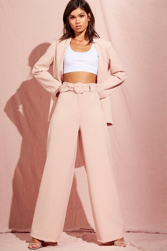 Wide Leg Belted High Waisted Trouser
