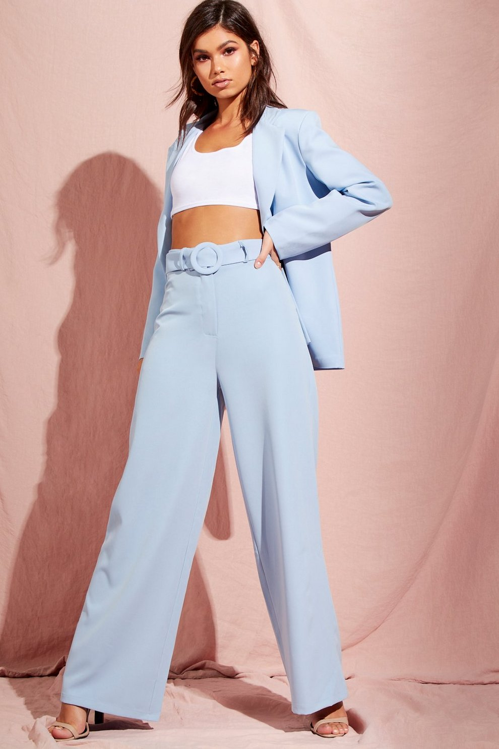 cc32ea005ce2 Wide Leg Belted High Waisted Trouser