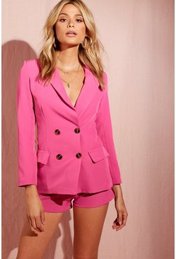 Womens Hot pink Double Breasted Blazer