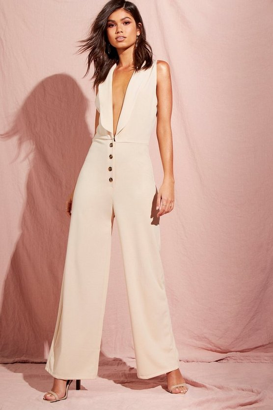 Womens Champagne Shawl Collar Button Front Jumpsuits