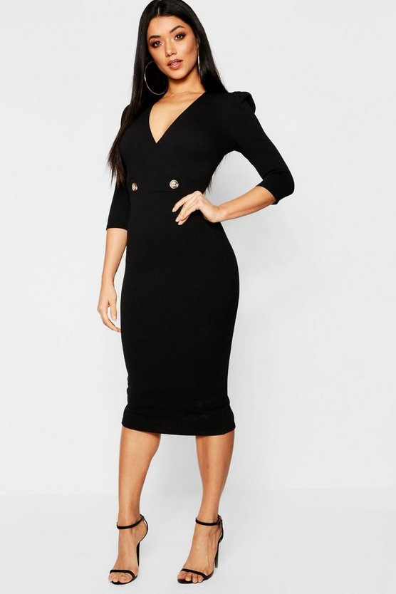 Black 3/4 Sleeve Horn Button Wrap Midi Dress