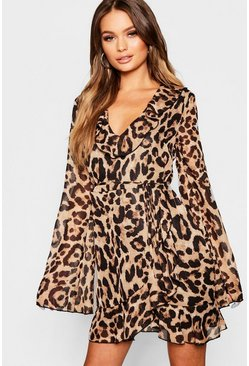 Womens Brown Animal Print Ruffle Detail Skater Dress
