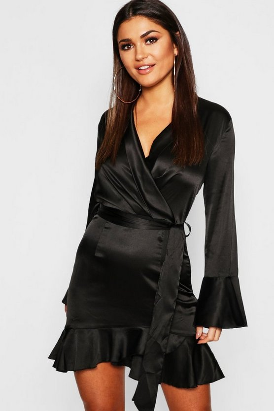 Womens Black Satin Frill Detail Wrap Skater Dress