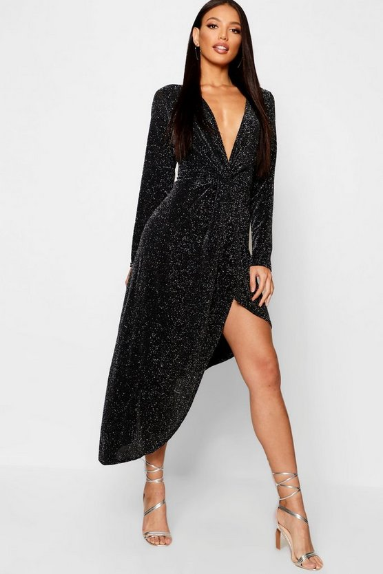 Sparkle Plunge Knot Front Split Front Dress