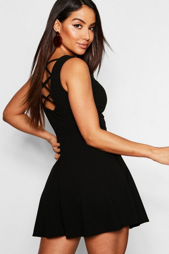 Womens Black Zip Front Strappy Back Skater Dress