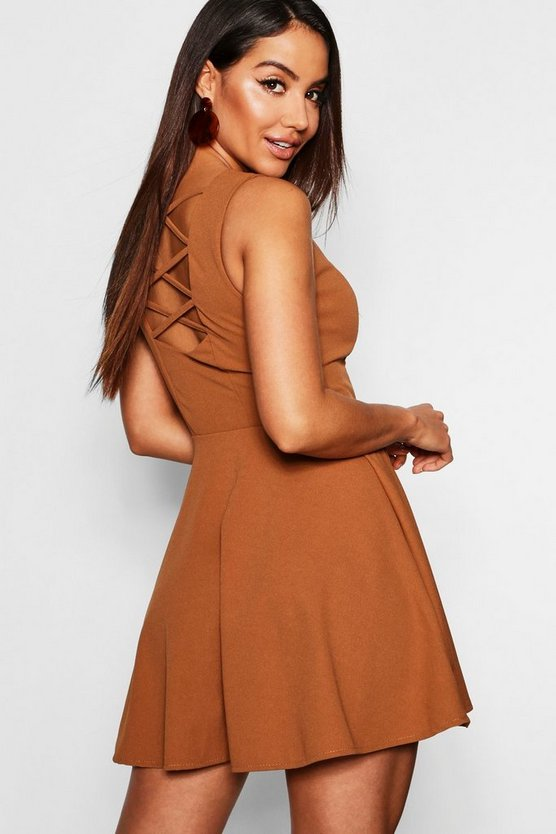 Zip Front Strappy Back Skater Dress