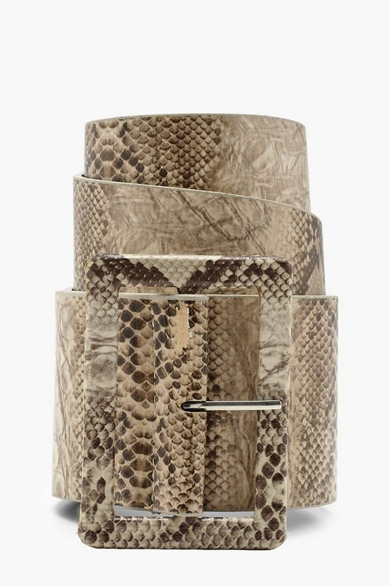 Faux Snake Self Buckle Belt