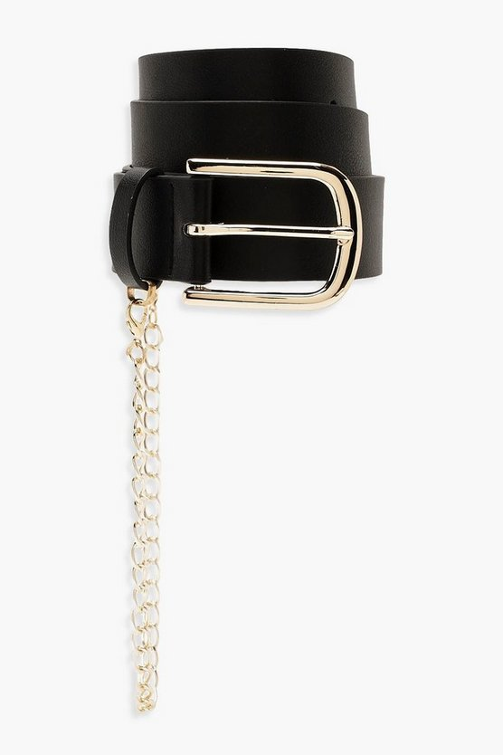 PU Belt With Gold Chain