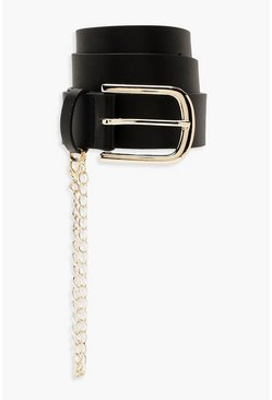Womens Black PU Belt With Gold Chain