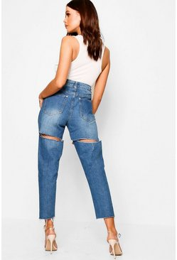 Womens Light blue High Rise Cheeky Rip Boyfriend Jeans