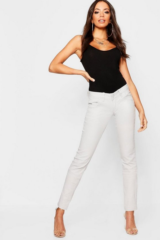 Light grey Low Rise Stretch Skinny Jeans