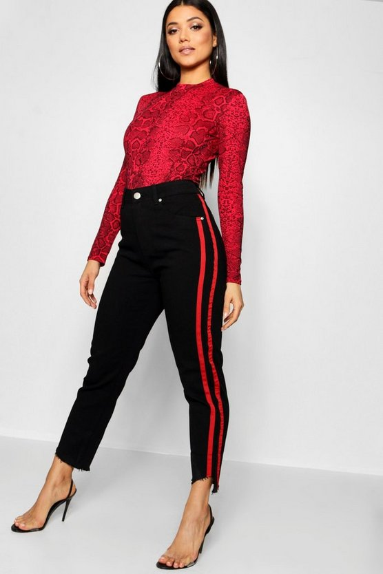 Black High Rise Red Stripe Straight Leg Jean