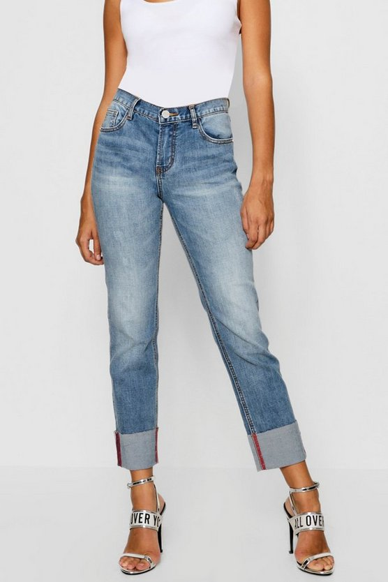Womens Blue Turn Up Cuff Jeans