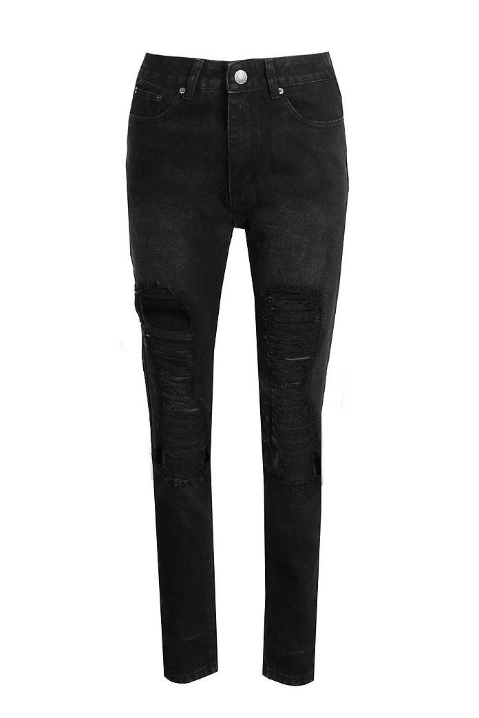 Schwarze Mom Jeans mit hohem Bund und zerrissenem Knie | boohoo