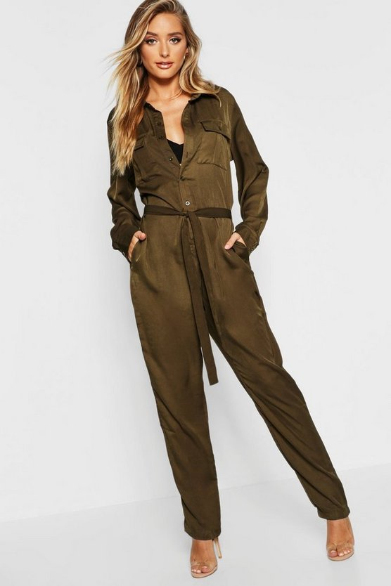 Tie Waist Utility Denim Boilersuit