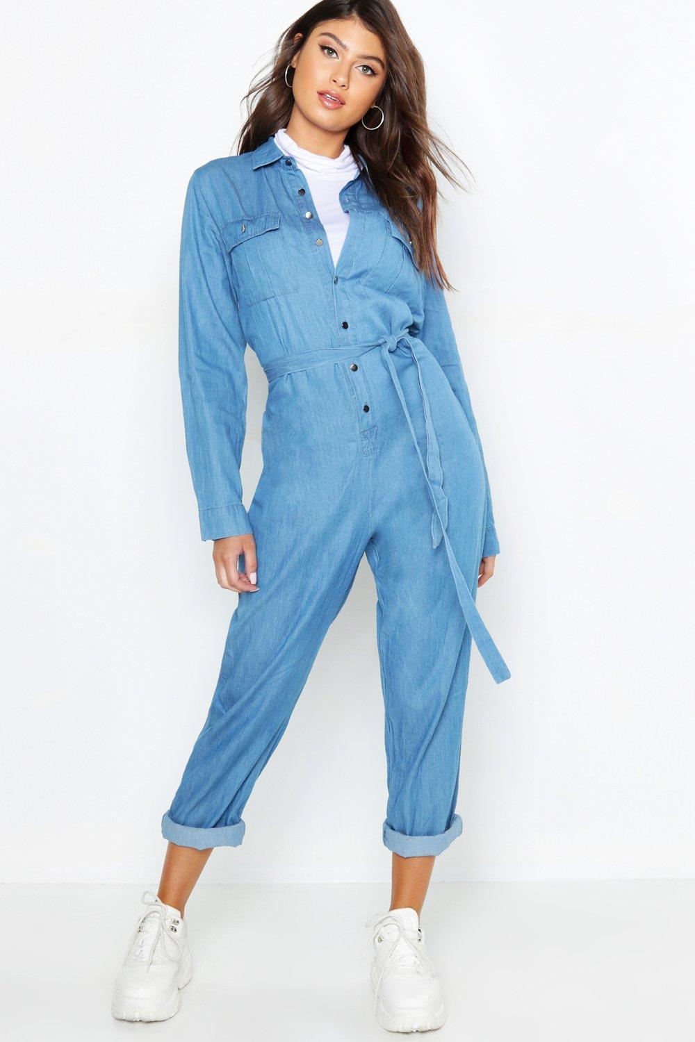 c471f39d5dd Tie Waist Utility Denim Boilersuit. Hover to zoom