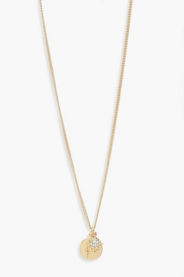 Womens Gold Simple Star Coin Pendant Necklace
