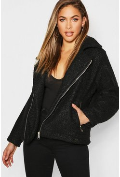 Womens Black Teddy Faux Fur Aviator Jacket