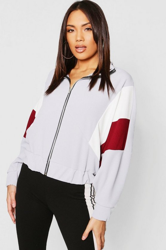 Panelled Oversized Bomber Jacket